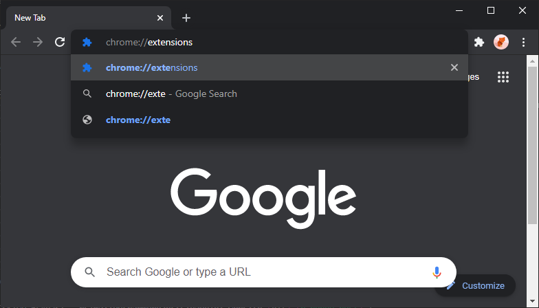 """""""chrome://extensions"""" was typed into Chrome's address bar."""