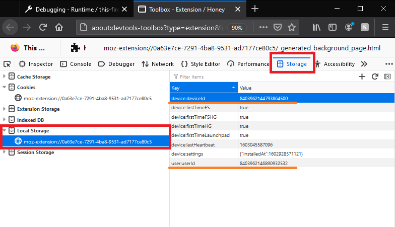 """Honey's toolbox tab is open. """"Storage"""", """"Local Storage"""" and the deviceId and userId are highlighted."""