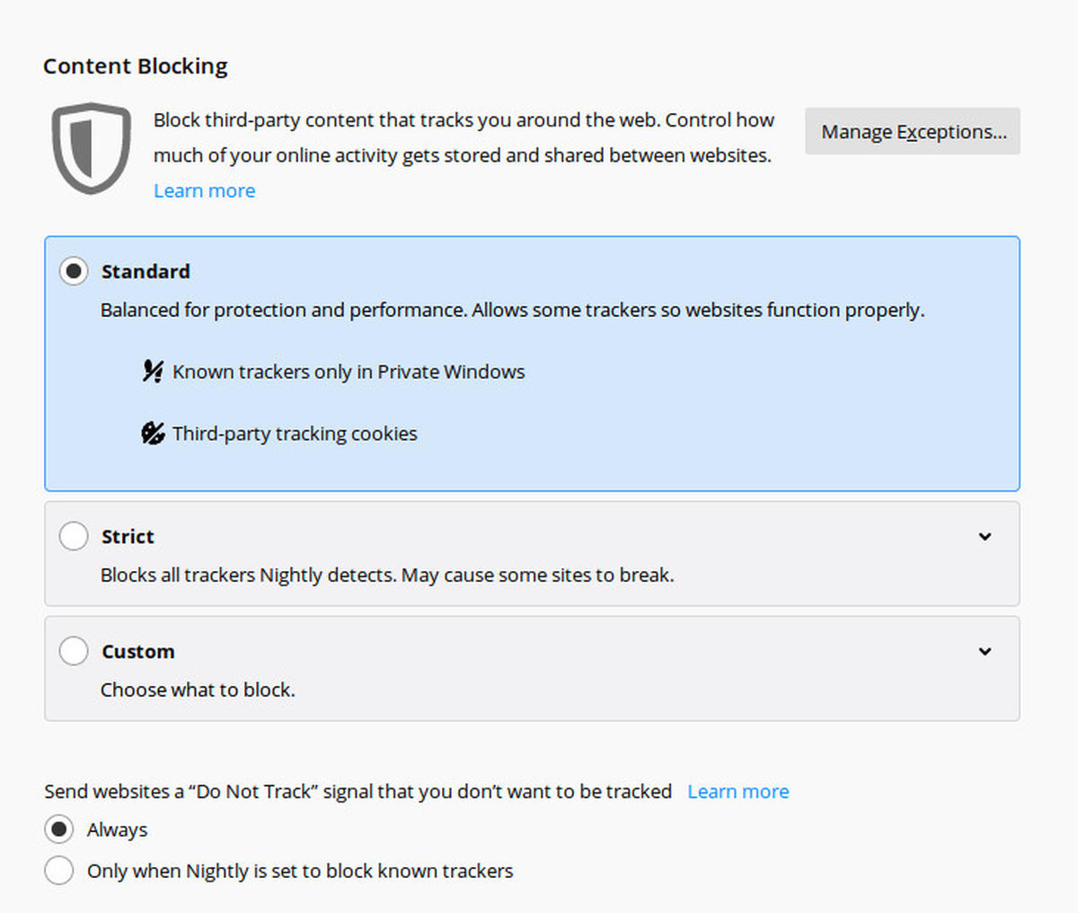 Screenshot of the Firefox content blocking settings, allowing to choose between the levels 'Standard', 'Strict' and 'Custom' and the option to turn 'Do not track' on or off