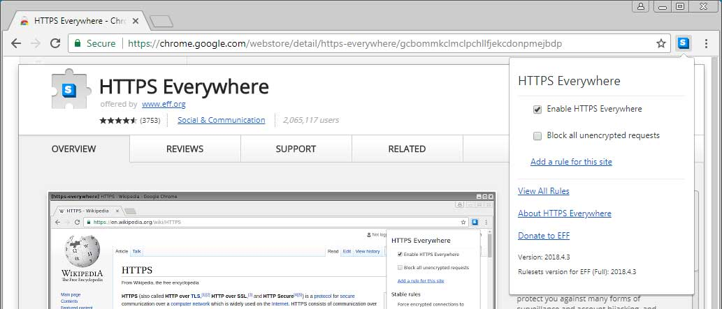 Screenshot of the HTTPS Everywhere menu with the option to toggle the addon state