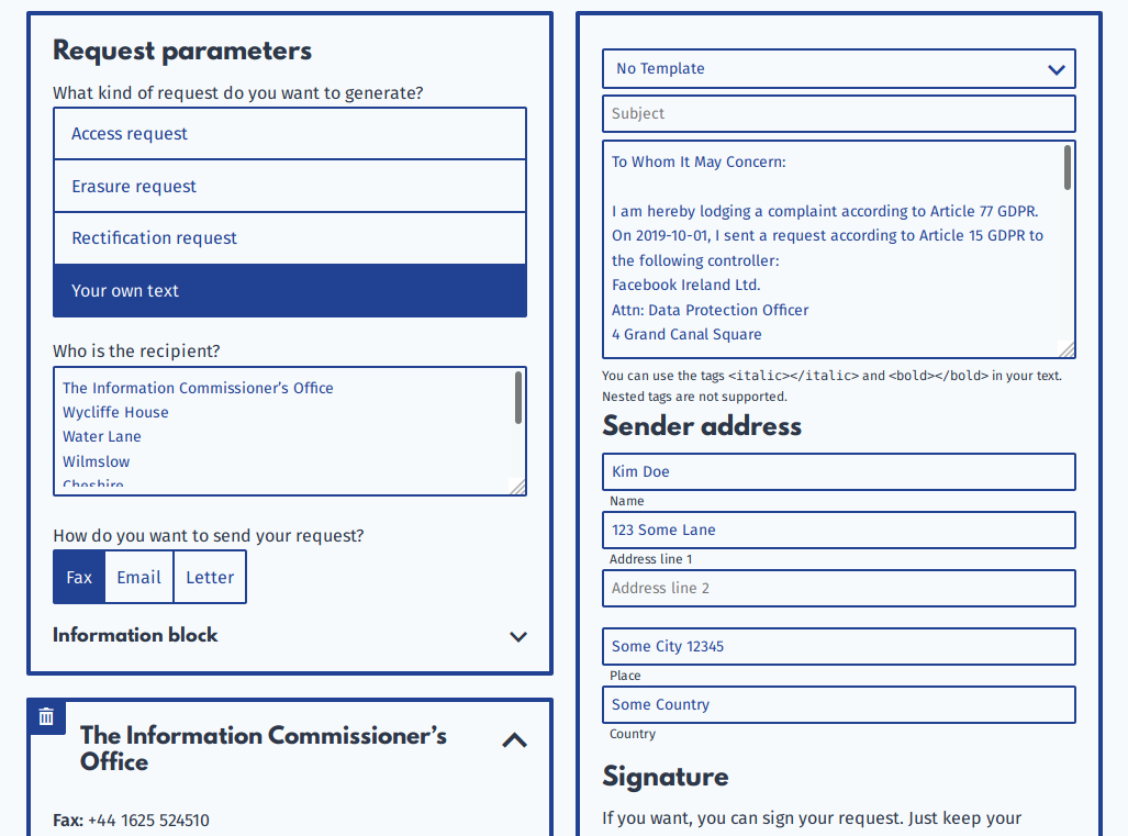 Screenshot of the datarequests.org request generator. A complaint to the Information Commissioner's Office about Facebook Ireland Ltd. is being prepared.